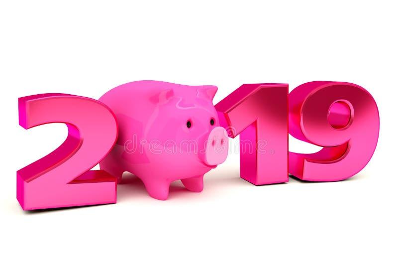 Conceito de projeto creativo Fundo festivo para insetos, convites e cartões sazonais Ano novo do porco, calenda 2019 ilustração stock