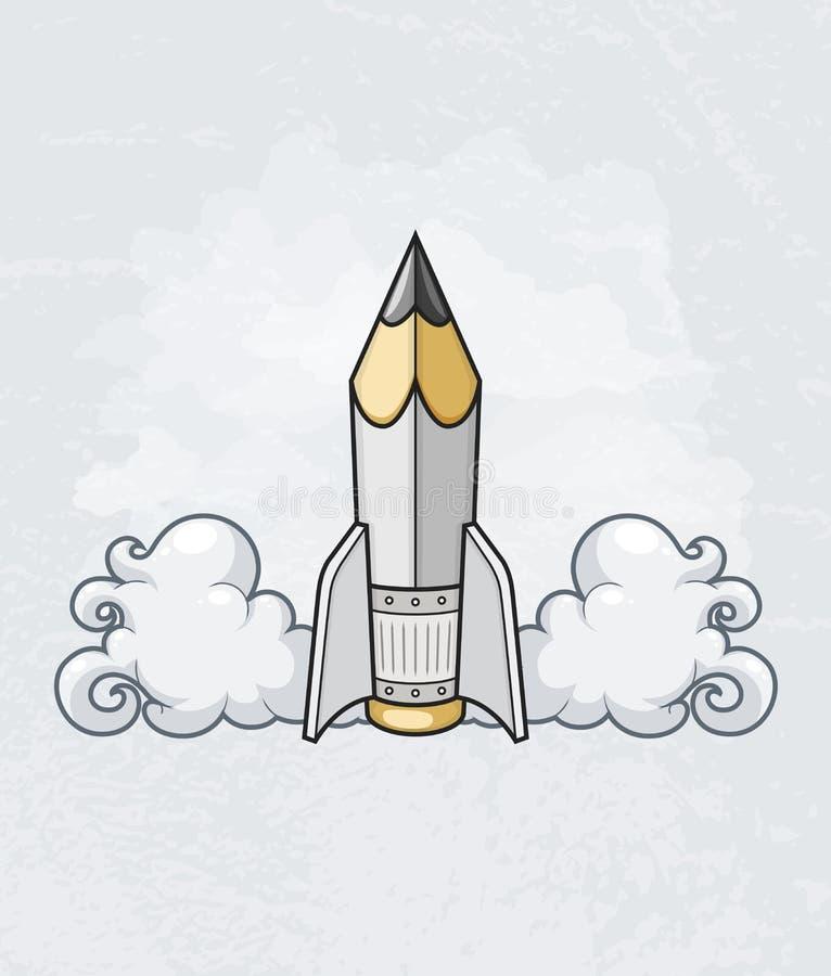 Conceito de projeto criativo com a ferramenta do lápis como o foguete ilustração stock