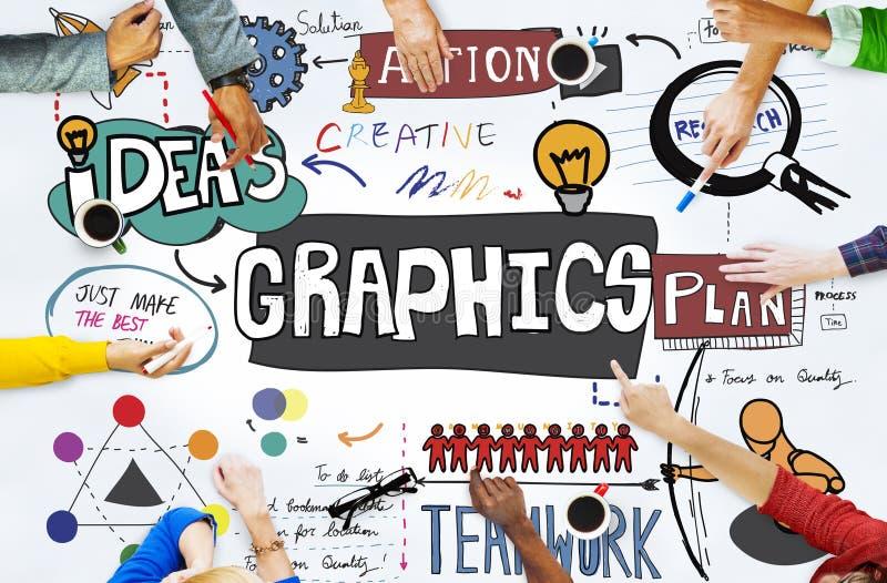 Conceito de projeto criativo da ilustração gráfica dos gráficos ilustração do vetor