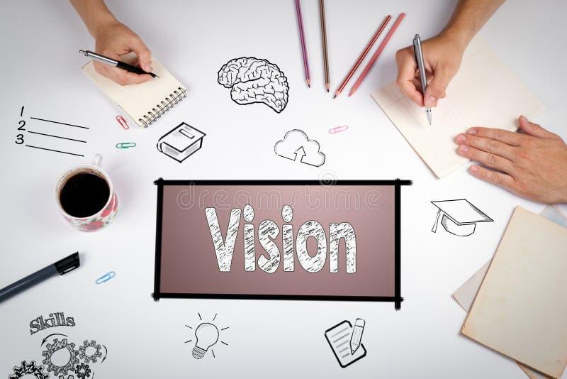 Conceito de projeto criativo das ideias da visão A reunião na tabela branca do escritório imagem de stock