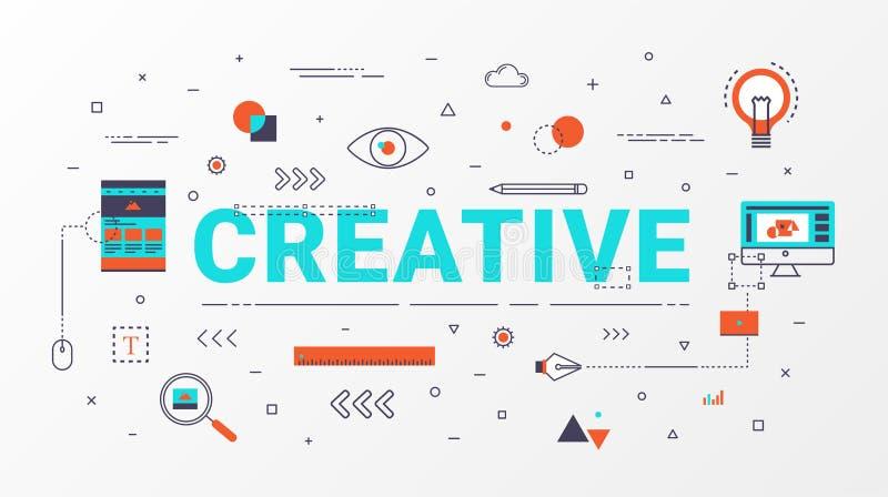 Conceito de projeto criativo de Infographics Conceito creativo da idéia Linha lisa estilo dos ícones com ilustração da tipografia ilustração royalty free