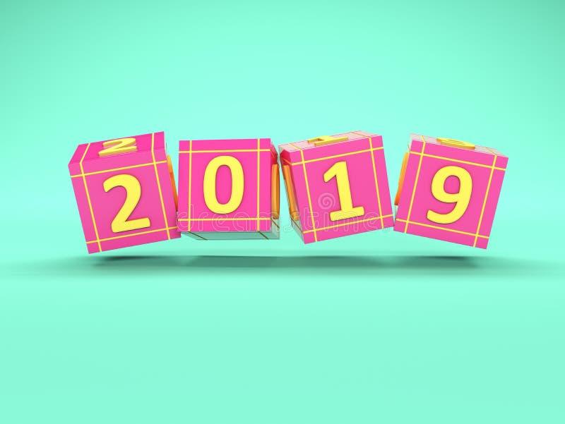 Conceito de projeto criativo do ano novo 2019 ilustração royalty free