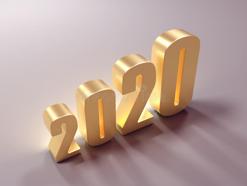 Conceito de projeto criativo do ano novo 2020 ilustração stock