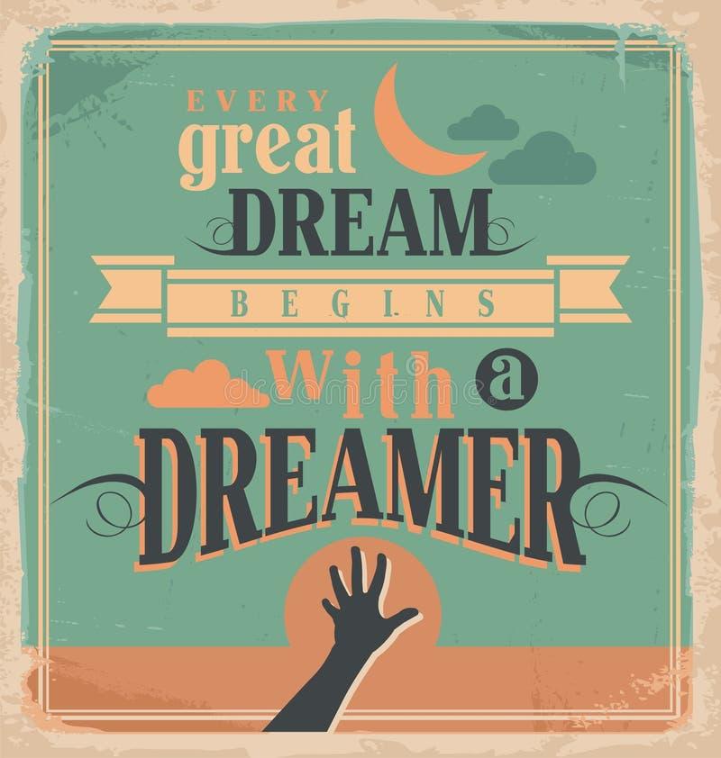Conceito de projeto criativo do cartaz com mensagem inspirador ilustração stock