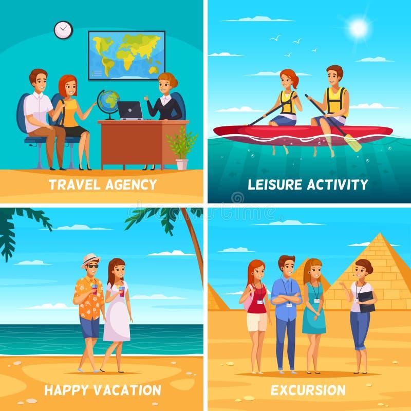 Conceito de projeto da agência de viagens 2x2 ilustração do vetor