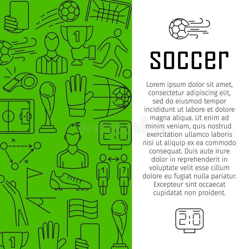 Conceito de projeto da bandeira do vetor do futebol, com linha fina ícones da arte ilustração stock