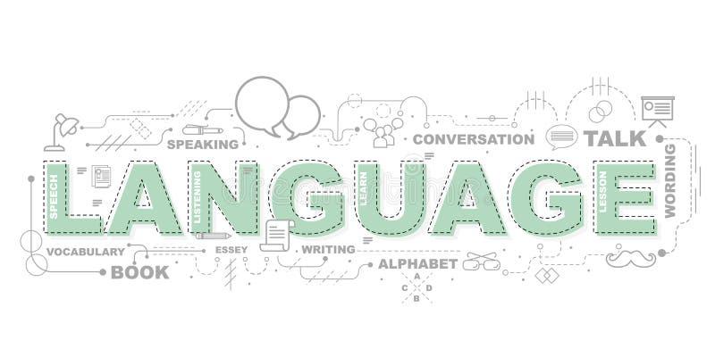 Conceito de projeto da bandeira do Web site da LÍNGUA de palavra ilustração stock