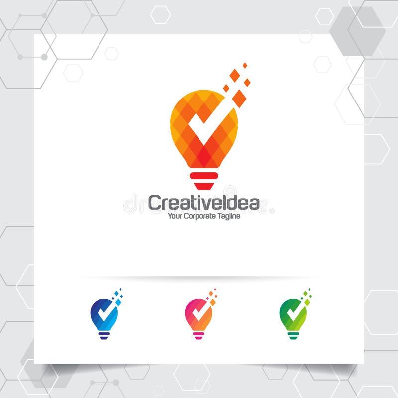 Conceito de projeto da ideia do logotipo do bulbo do símbolo do pixel e do vetor digitais da lâmpada do ícone r ilustração do vetor