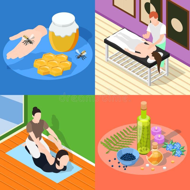 Conceito de projeto da medicina alternativa 2x2 ilustração stock