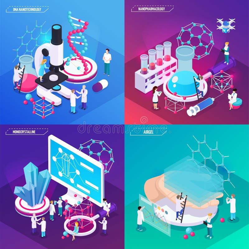 Conceito de projeto da nanotecnologia 2x2 ilustração stock