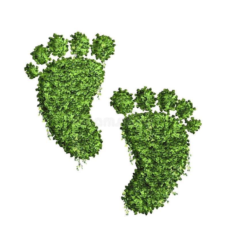 Conceito de projeto da pegada da ecologia dos muitos folha verde imagens de stock royalty free