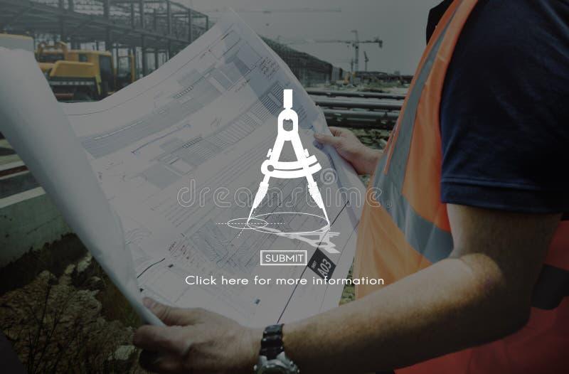 Conceito de projeto das ideias do esboço do compasso de desenho imagens de stock