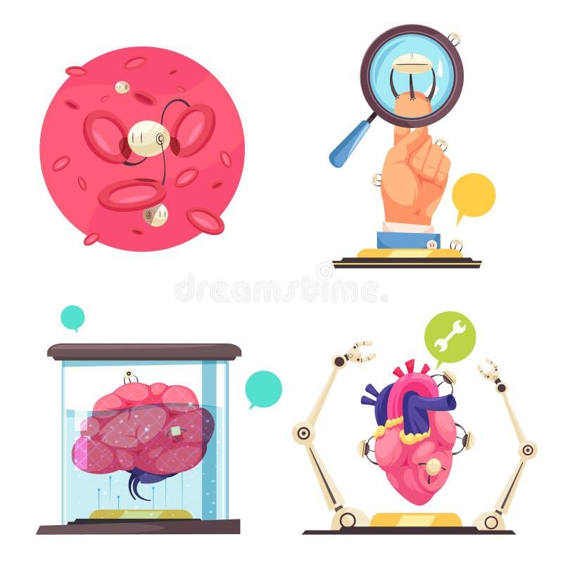 Conceito de projeto das nanotecnologia 2x2 ilustração do vetor