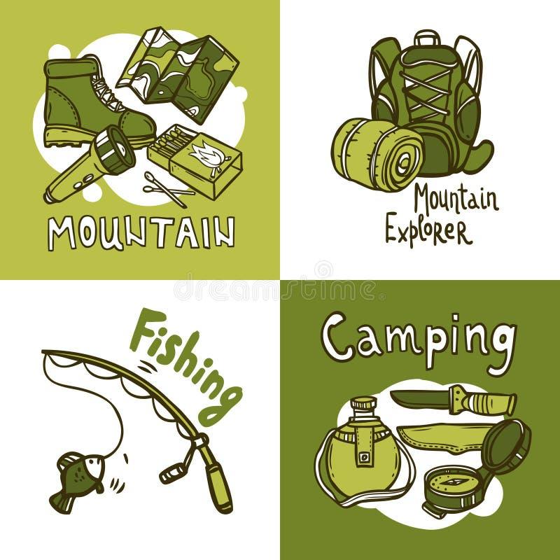 Conceito de projeto de acampamento ilustração do vetor