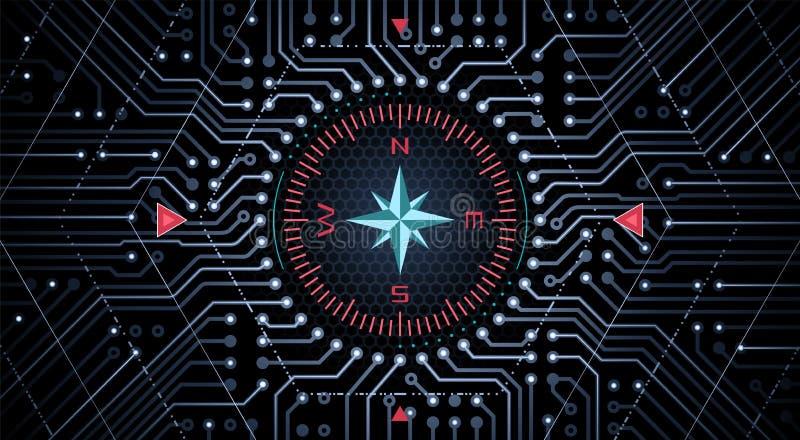Conceito de projeto de um compasso analógico-numérico ilustração royalty free