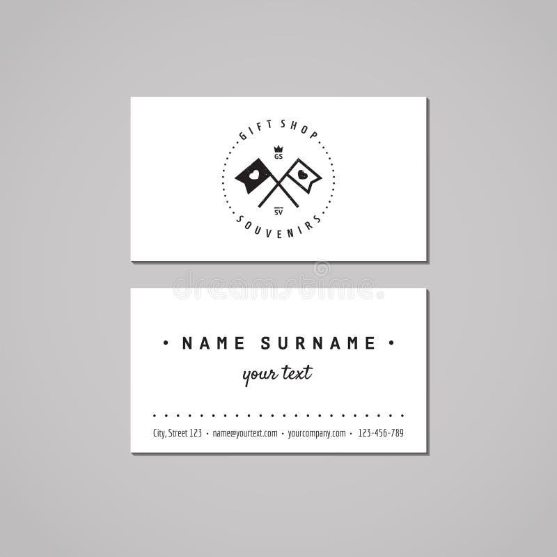 Conceito de projeto do cartão da loja de lembranças e das lembranças Logotipo da loja de lembranças com as bandeiras com corações ilustração stock