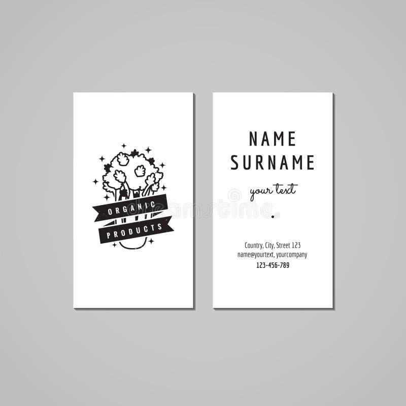 Conceito de projeto do cartão do alimento biológico Logotipo do alimento com aipo e fita Vintage, moderno e estilo retro ilustração royalty free