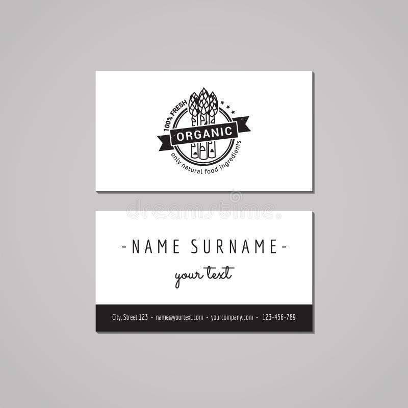 Conceito de projeto do cartão do alimento biológico Logotipo do alimento com aspargo e fita Vintage, moderno e estilo retro ilustração stock