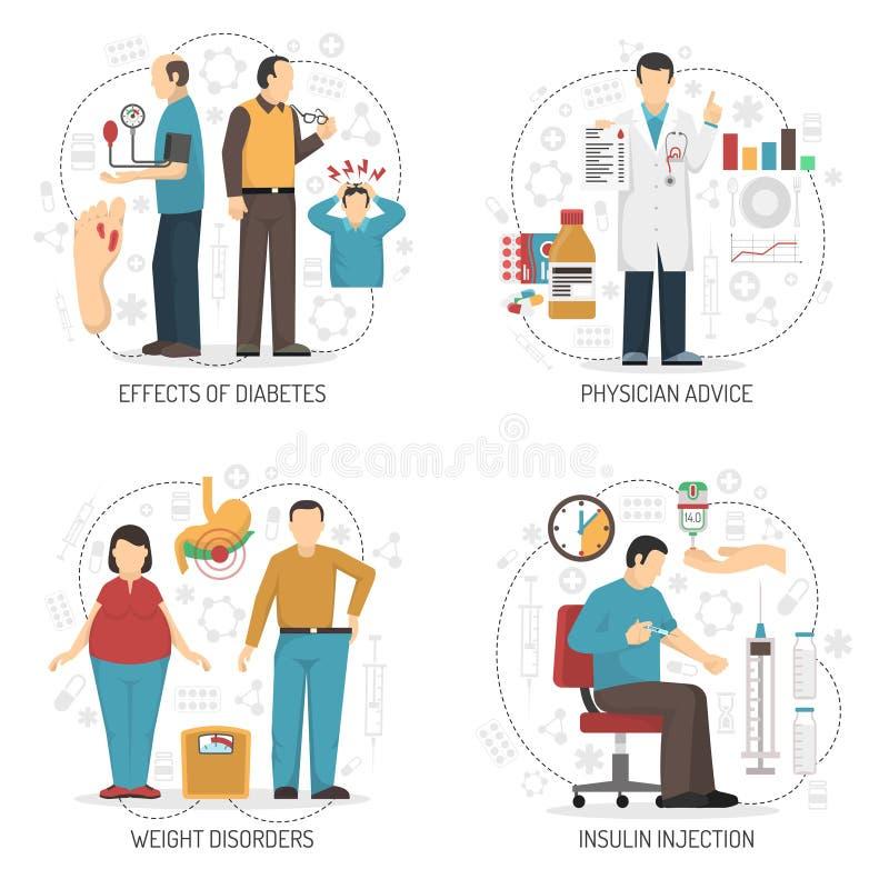Conceito de projeto do diabetes 2x2 ilustração do vetor