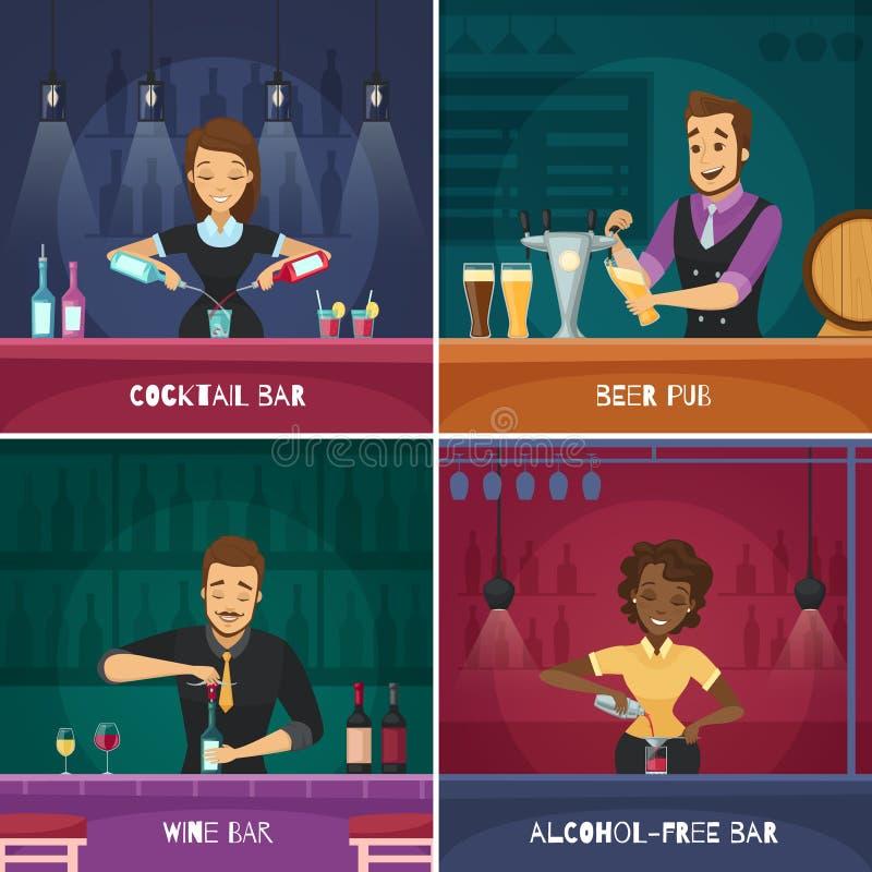 Conceito de projeto do empregado de bar 2x2 ilustração stock