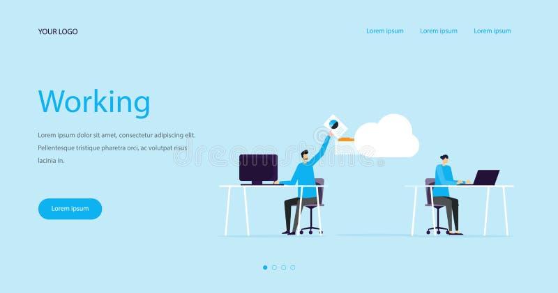 Conceito de projeto do encabeçamento da Web da ilustração e funcionamento lisos da equipe do negócio ilustração stock