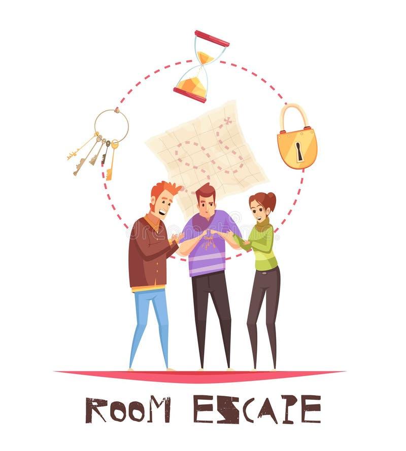 Conceito de projeto do escape da sala ilustração do vetor