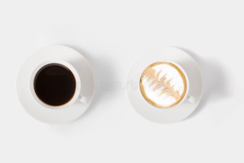 Conceito de projeto do grupo de café da variedade do modelo isolado no branco foto de stock