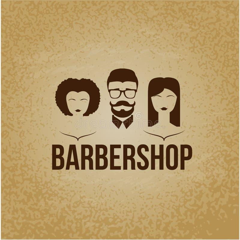 Conceito de projeto do logotipo Cabeleireiro do barbeiro Endireitamento brazillian permanente, perming, coloração de cabelo, cort ilustração royalty free