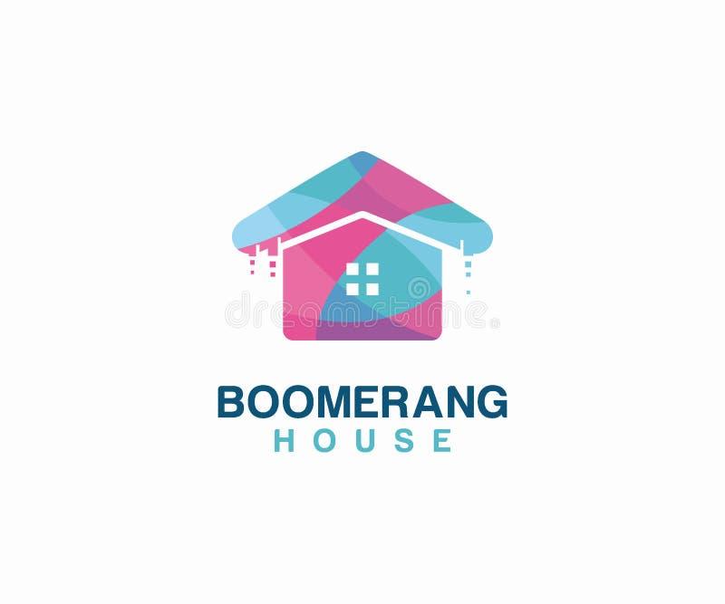 Conceito de projeto do logotipo da casa do Bumerangue Molde do logotipo dos bens imobili?rios ilustração stock