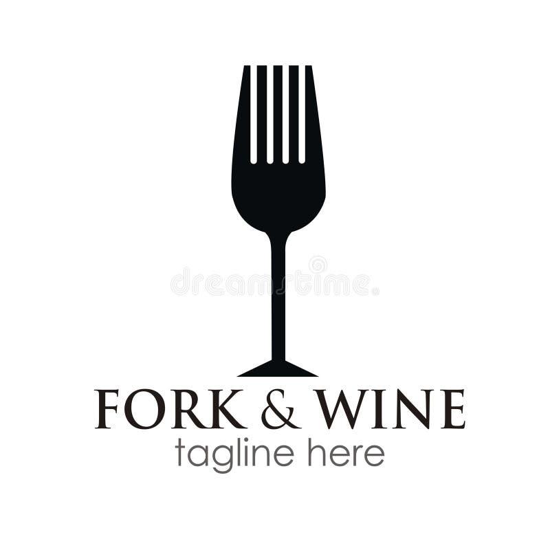 Conceito de projeto do logotipo da forquilha e do vinho fotografia de stock