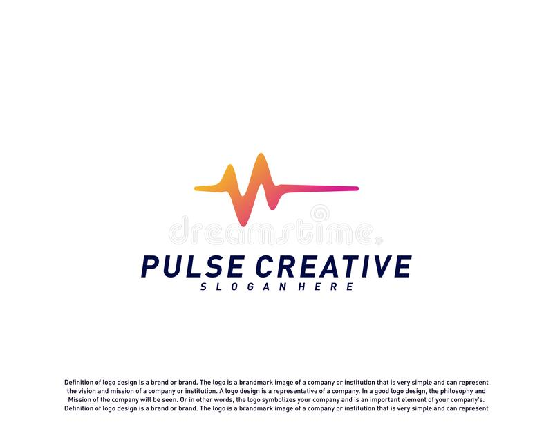 Conceito de projeto do logotipo médico do pulso ou da onda Vetor do molde do logotipo do pulso da saúde Símbolo do ícone ilustração do vetor