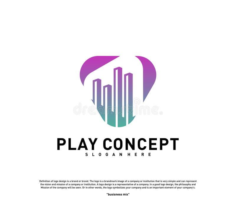 Conceito de projeto do logotipo de Media City do jogo Vetor do molde do logotipo do jogo do Stats Símbolo do ícone ilustração do vetor