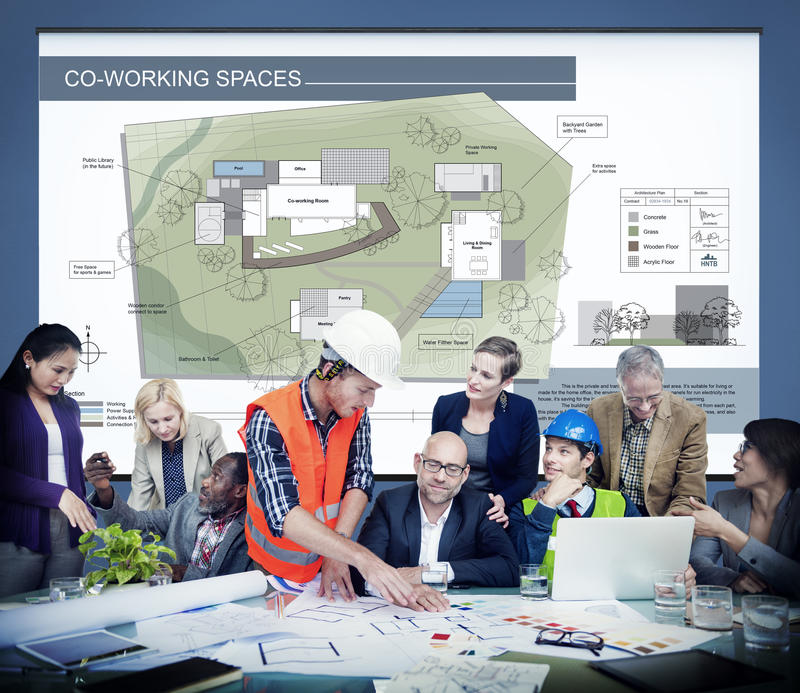Conceito de projeto do modelo do mapa do plano da arquitetura do espaço de funcionamento do Co fotografia de stock