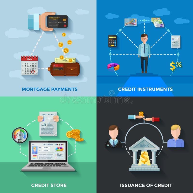Conceito de projeto do rating de crédito 2x2 ilustração do vetor