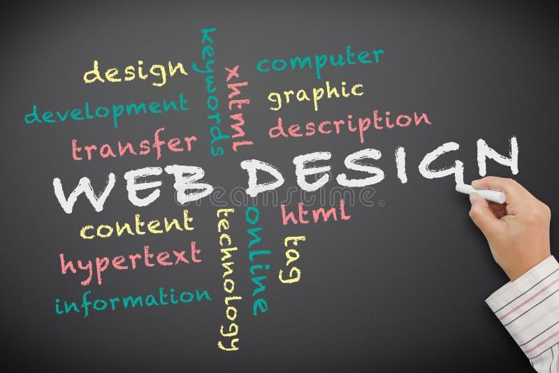 Conceito de projeto do Web escrito no quadro ilustração do vetor