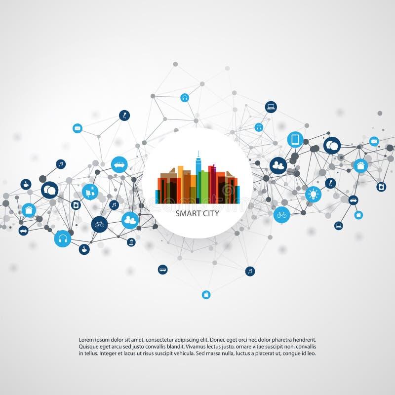 Conceito de projeto esperto colorido da cidade - conexões de rede de Digitas, fundo da tecnologia ilustração royalty free