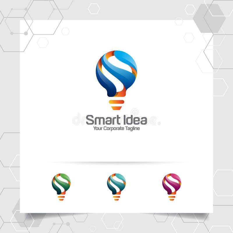 Conceito de projeto esperto da ideia do logotipo do bulbo do s?mbolo da letra S e do ?cone colorido do vetor da l?mpada Logotipo  ilustração do vetor