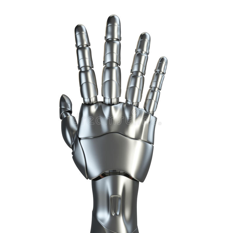 Conceito de projeto futurista de um cromo robótico do resíduo metálico do braço mecânico Molde isolado no fundo branco ilustração stock