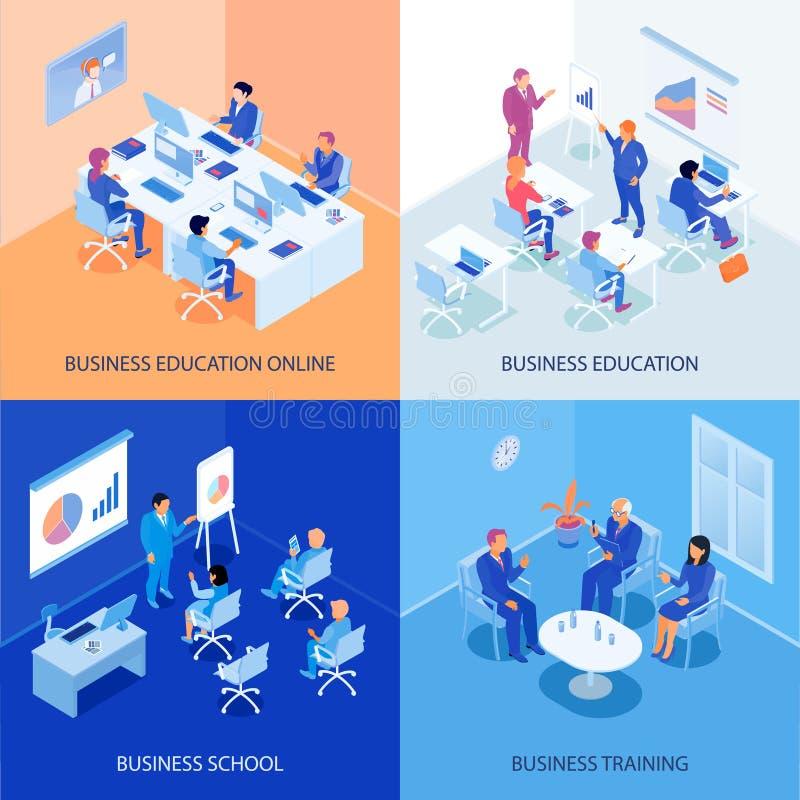 Conceito de projeto isométrico da educação do negócio ilustração royalty free