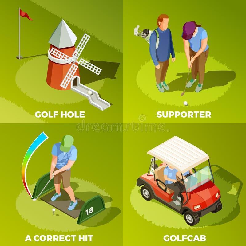 Conceito de projeto isométrico do golfe 2x2 ilustração stock