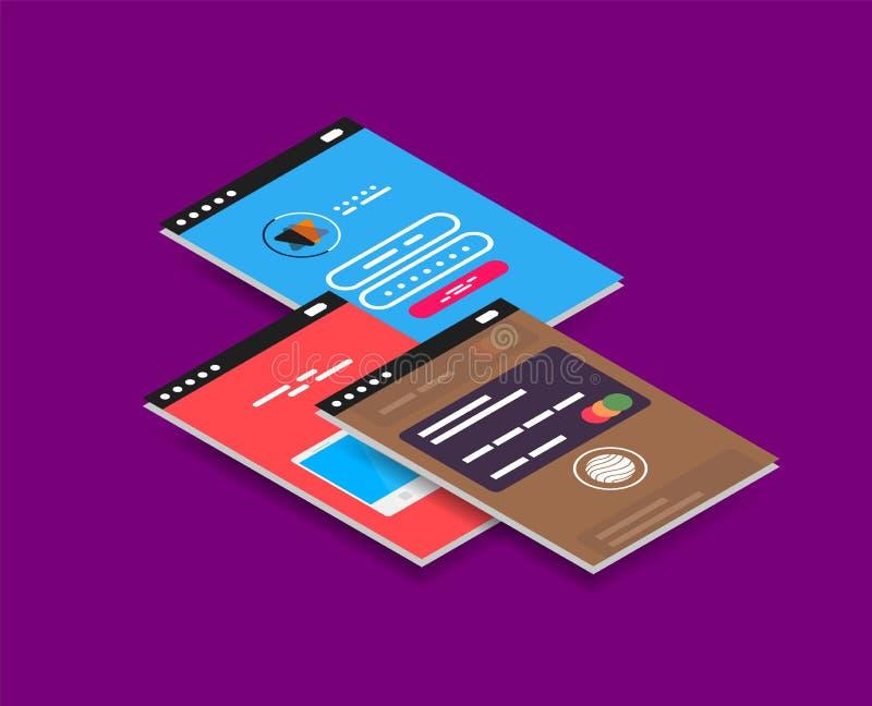 Conceito de projeto isométrico do ui do app do móbil do vetor ilustração do vetor