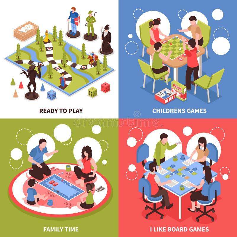 Conceito de projeto isométrico dos jogos de mesa ilustração stock