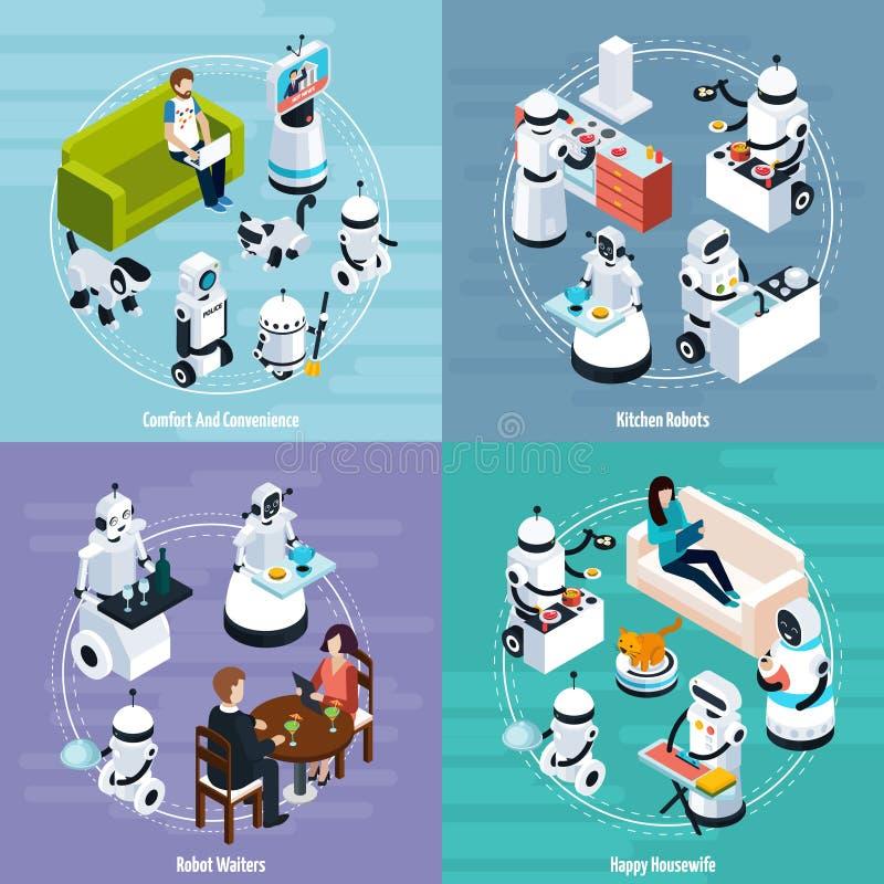 Conceito de projeto isométrico home dos robôs 2x2 ilustração stock