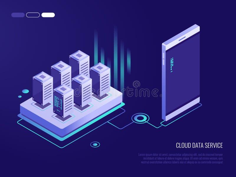 Conceito de projeto isométrico de um serviço de dados da nuvem para um smartphone Processo de transferência de arquivo pela rede  ilustração stock