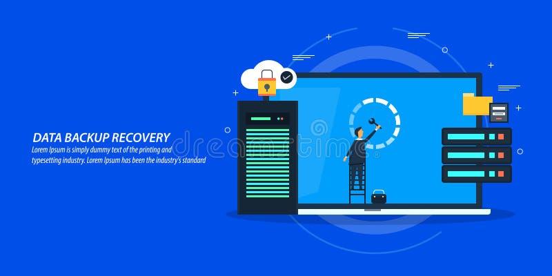 Conceito de projeto liso da recuperação dos dados, servidor de manutenção do homem, banco de dados em linha ilustração stock