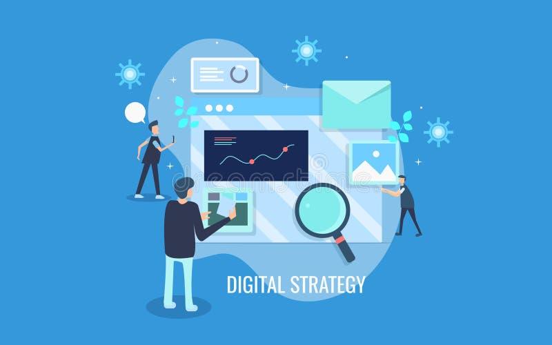 Conceito de projeto liso do desenvolvimento digital da estratégia, equipe de mercado que trabalha no mercado digital, propaganda, ilustração do vetor