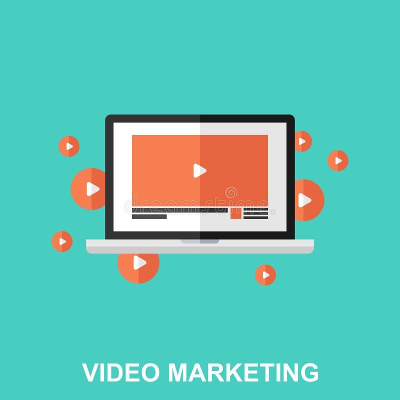 Conceito de projeto liso do mercado video imagem de stock