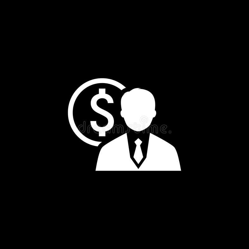 Conceito de projeto liso do negócio do ícone do valor com silhueta do homem ilustração do vetor