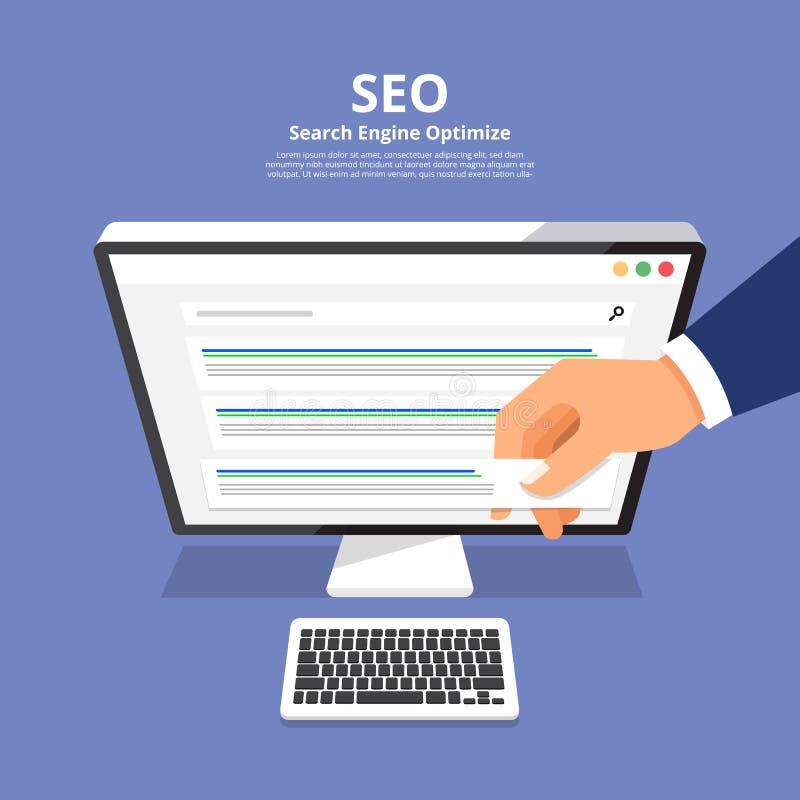 Conceito de projeto liso SEO (o Search Engine aperfeiçoa) Illustr do vetor ilustração stock