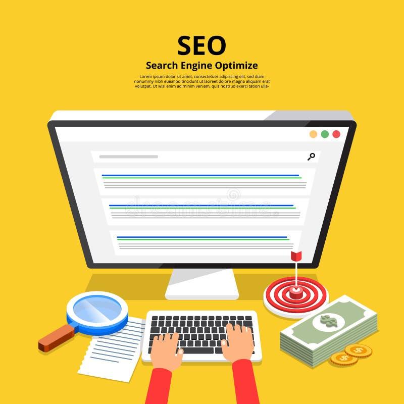 Conceito de projeto liso SEO (o Search Engine aperfeiçoa) Illustr do vetor ilustração do vetor